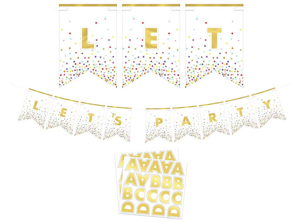 Rainbow Confetti & Gold Custom Bunting Kit
