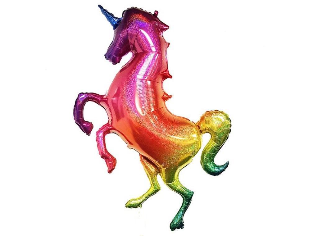 Giant Rainbow Glitter Unicorn Shape Foil Balloon