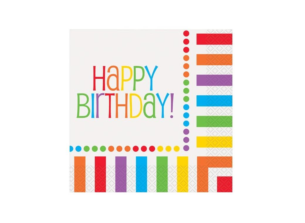 Rainbow Happy Birthday Lunch Napkins - 16pk