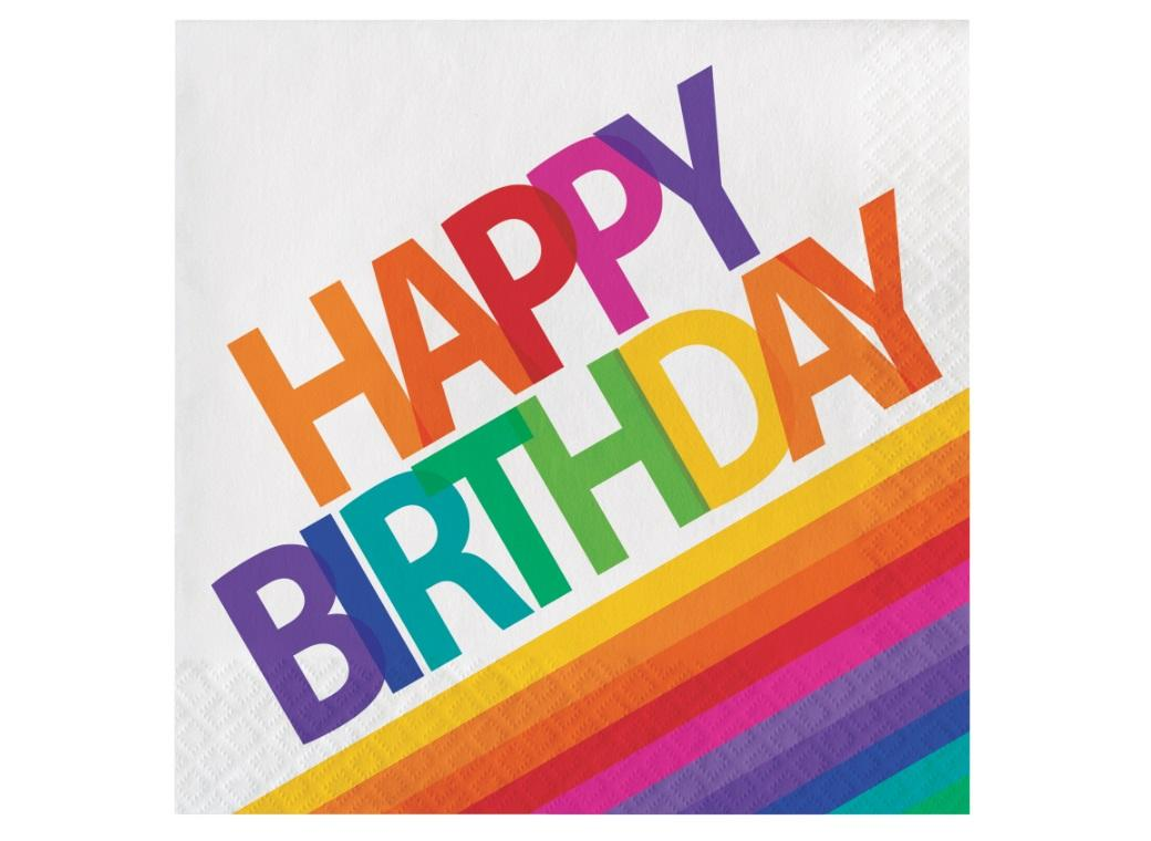 Rainbow Happy Birthday Lunch Napkins 16pk