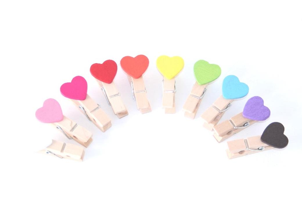 Rainbow Heart Pegs 10pk