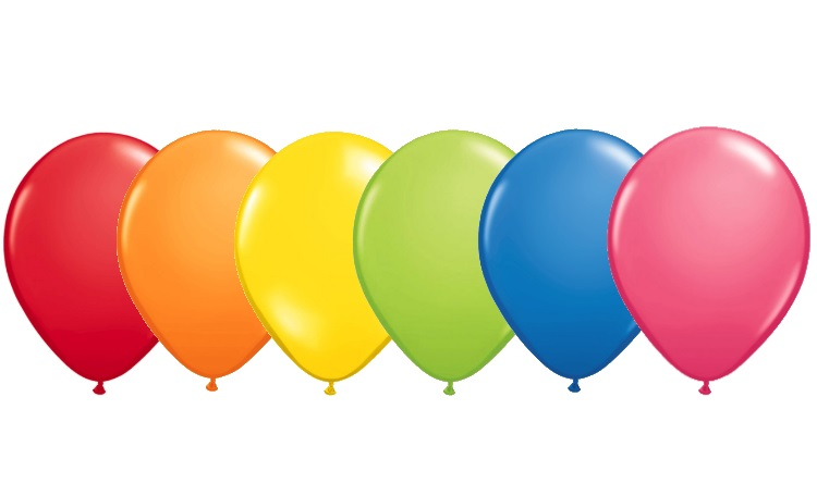 Rainbow Balloons - 6 Pack Assorted