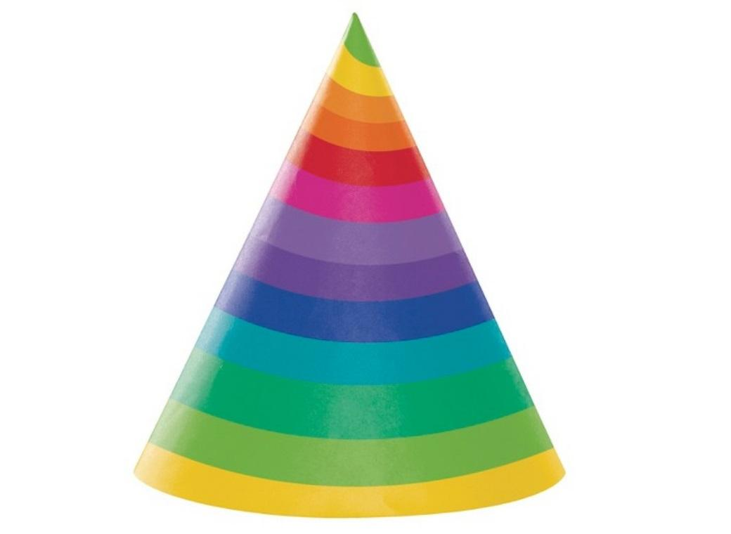Rainbow Party Hats 8pk