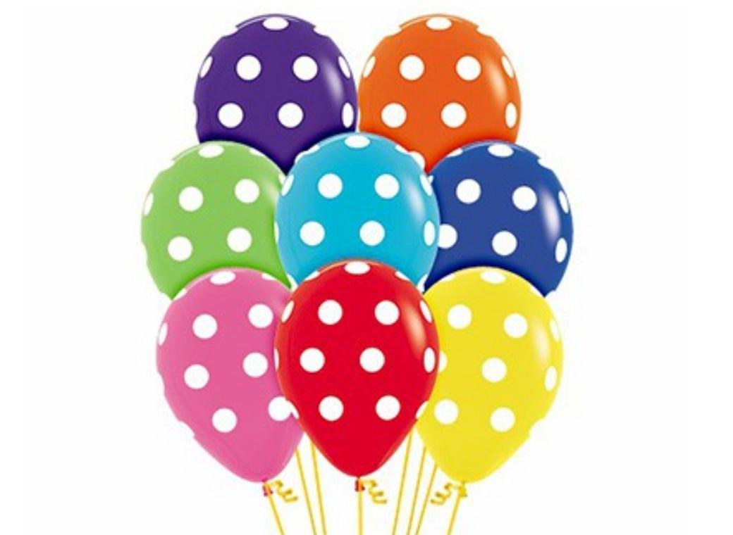 Rainbow Polka Dot Balloons 12pk