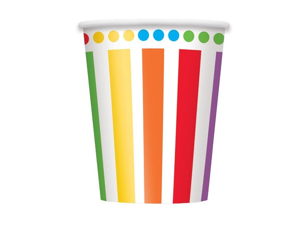 Rainbow Birthday Cups - 8pk