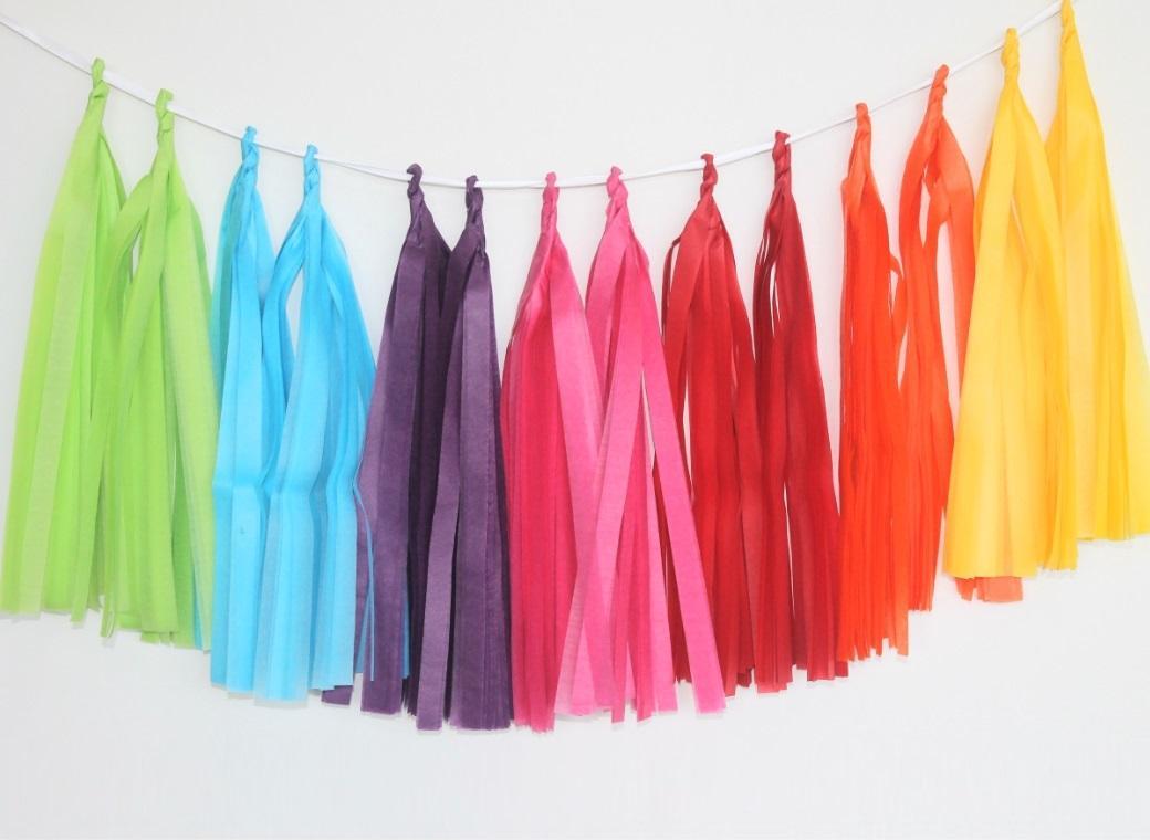 Tissue Tassel Garland - Rainbow