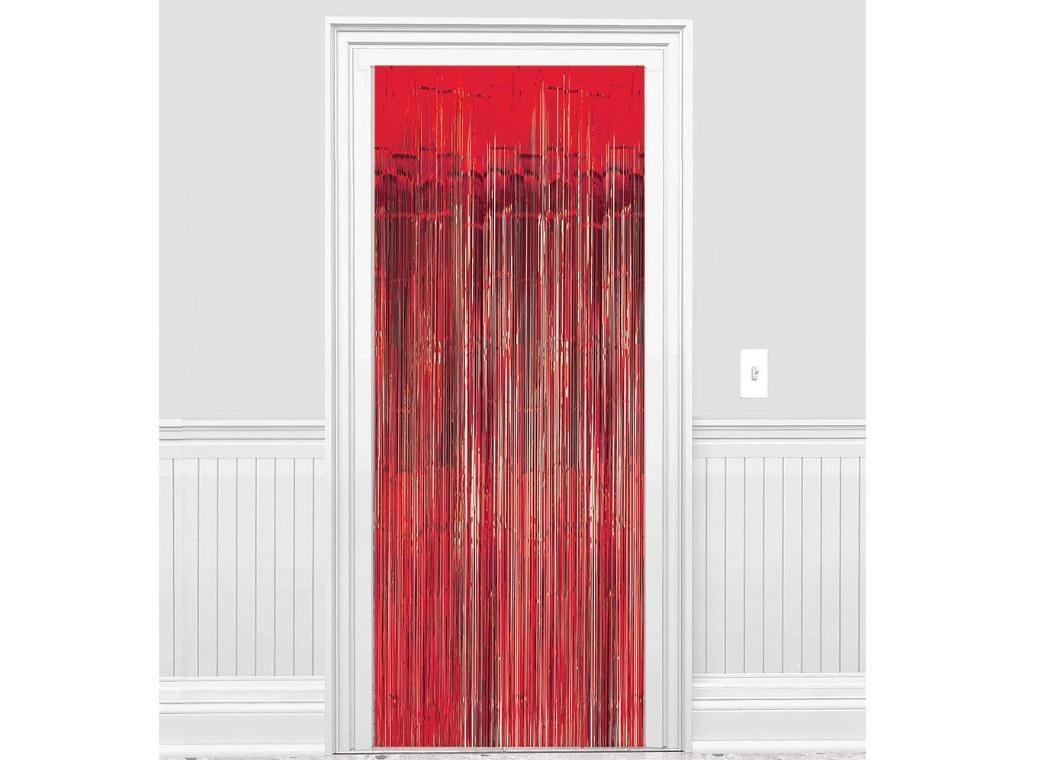 Red Foil Fringed Door Curtain