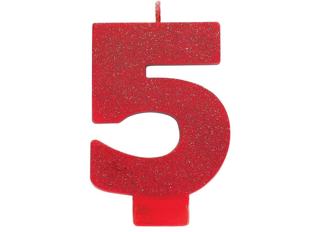 Red Glitter Candle - Number 5