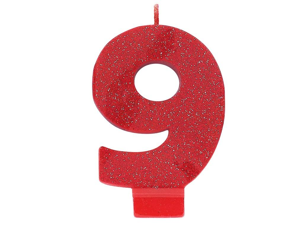 Red Glitter Candle - Number 9