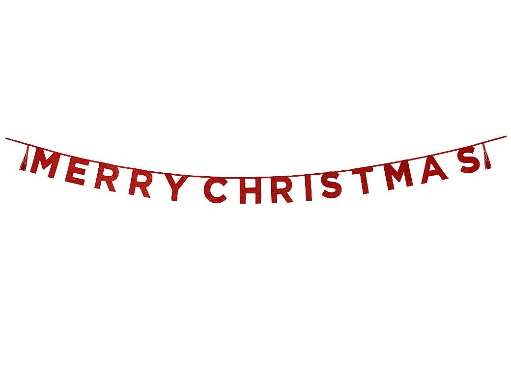 Merry Christmas Red Glitter Garland
