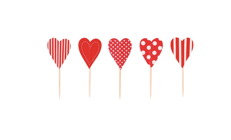 Paper Eskimo Candy Cane Hearts Cupcake Toppers