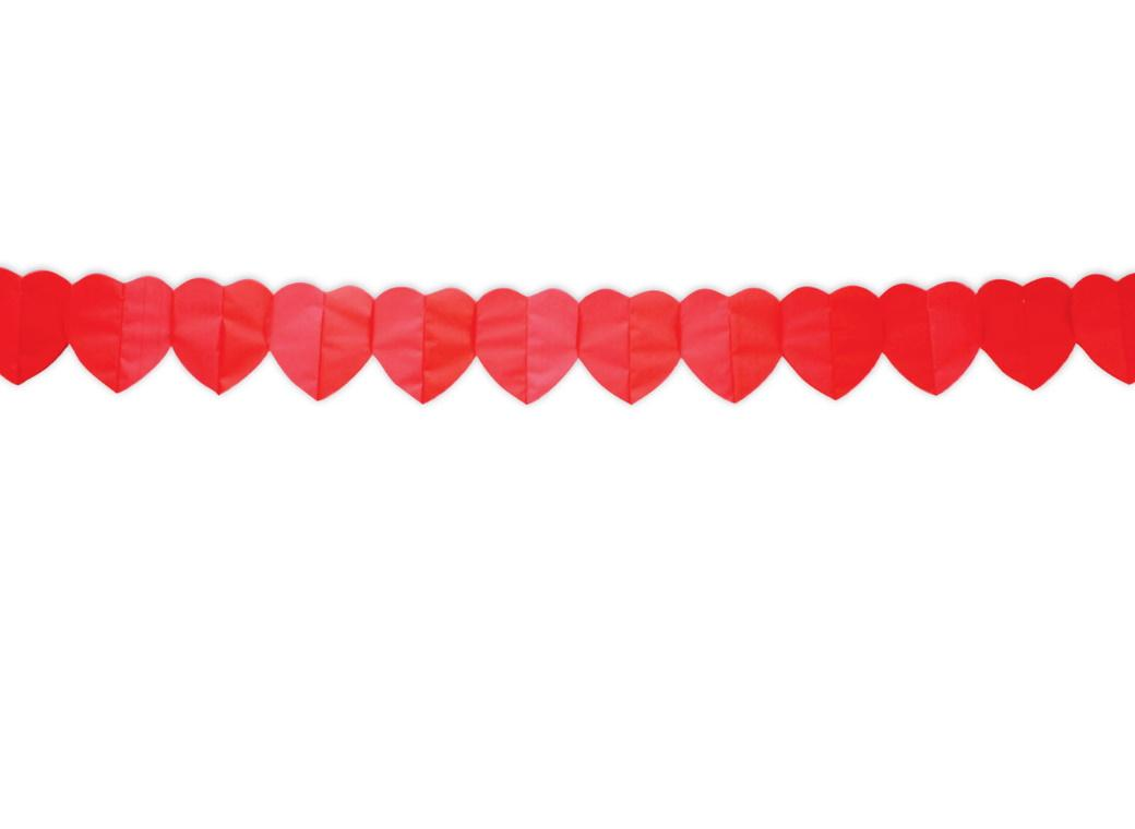 Red Hearts Paper Garland