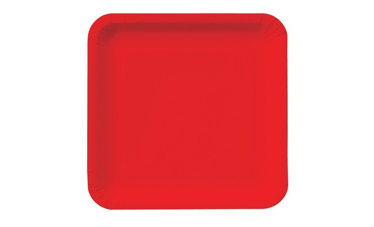 Lunch Plate Square - Red - 12pk