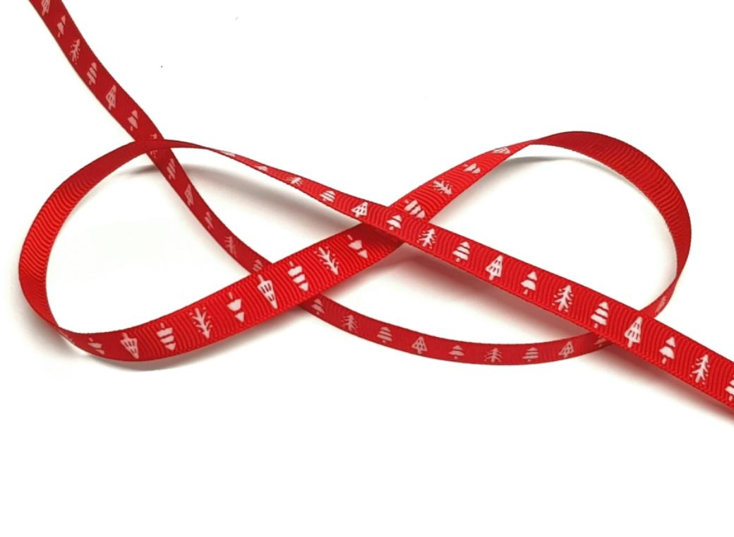Red Ribbon with Christmas Trees