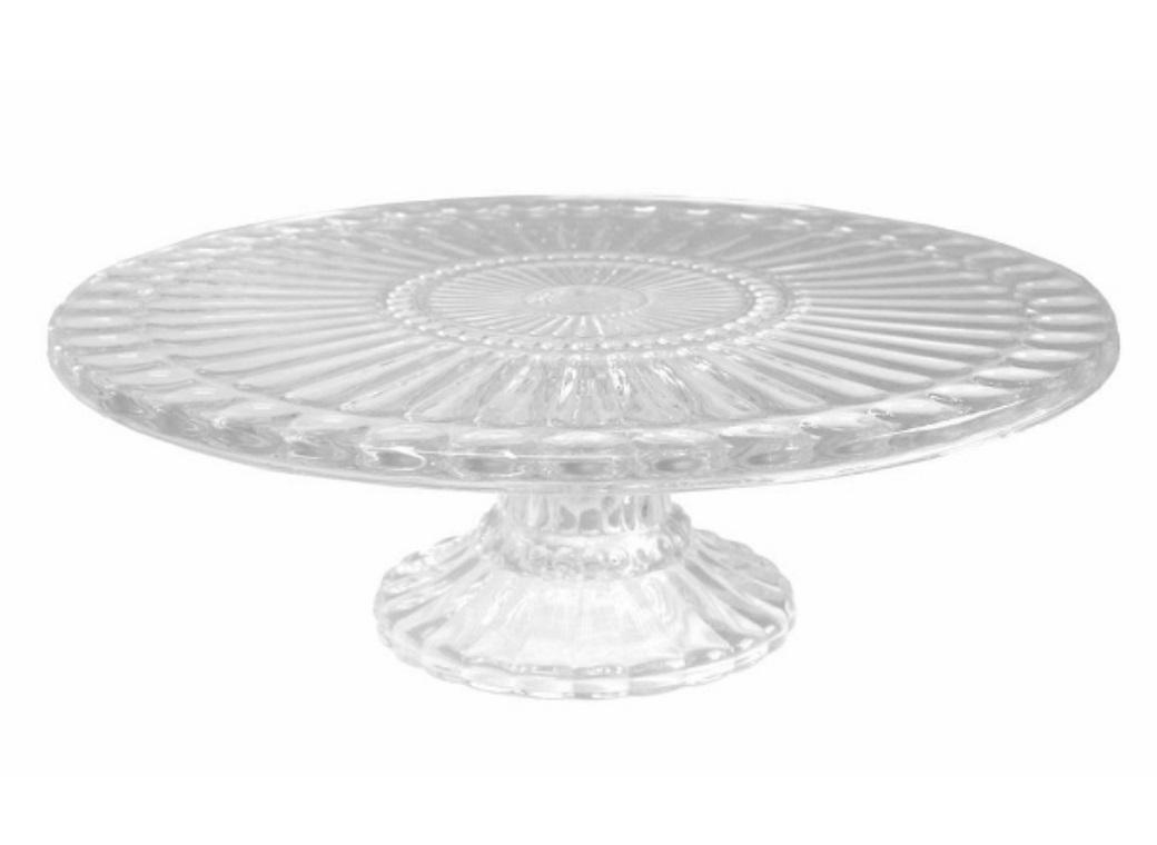 Ribbed Glass Cake Stand