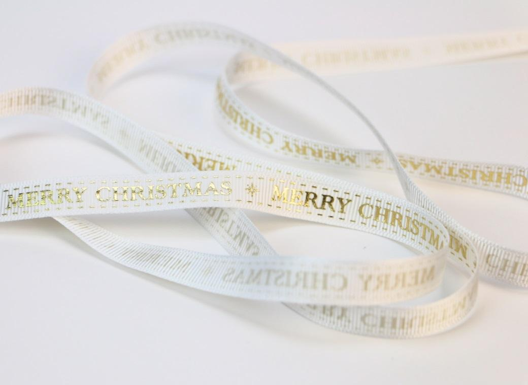 Merry Christmas Ribbon - White&Gold
