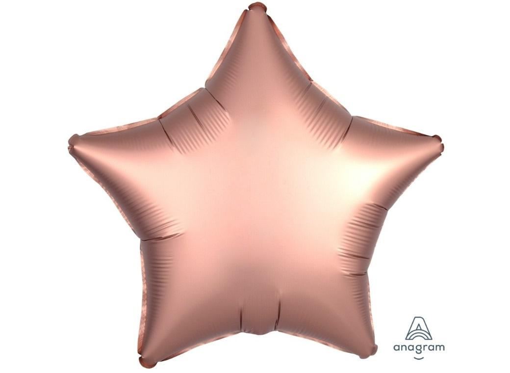 Star Shaped Foil Balloon - Satin Luxe Rose Copper