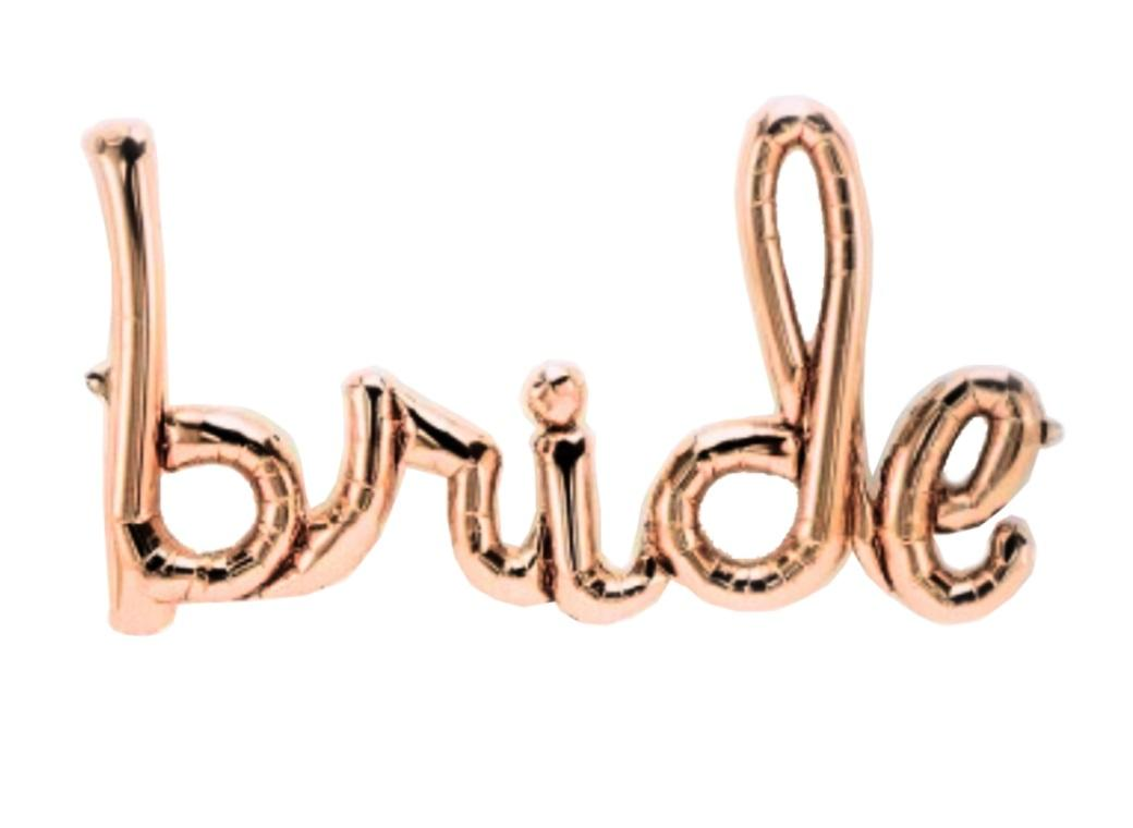 Rose Gold 'Bride' Script Balloon