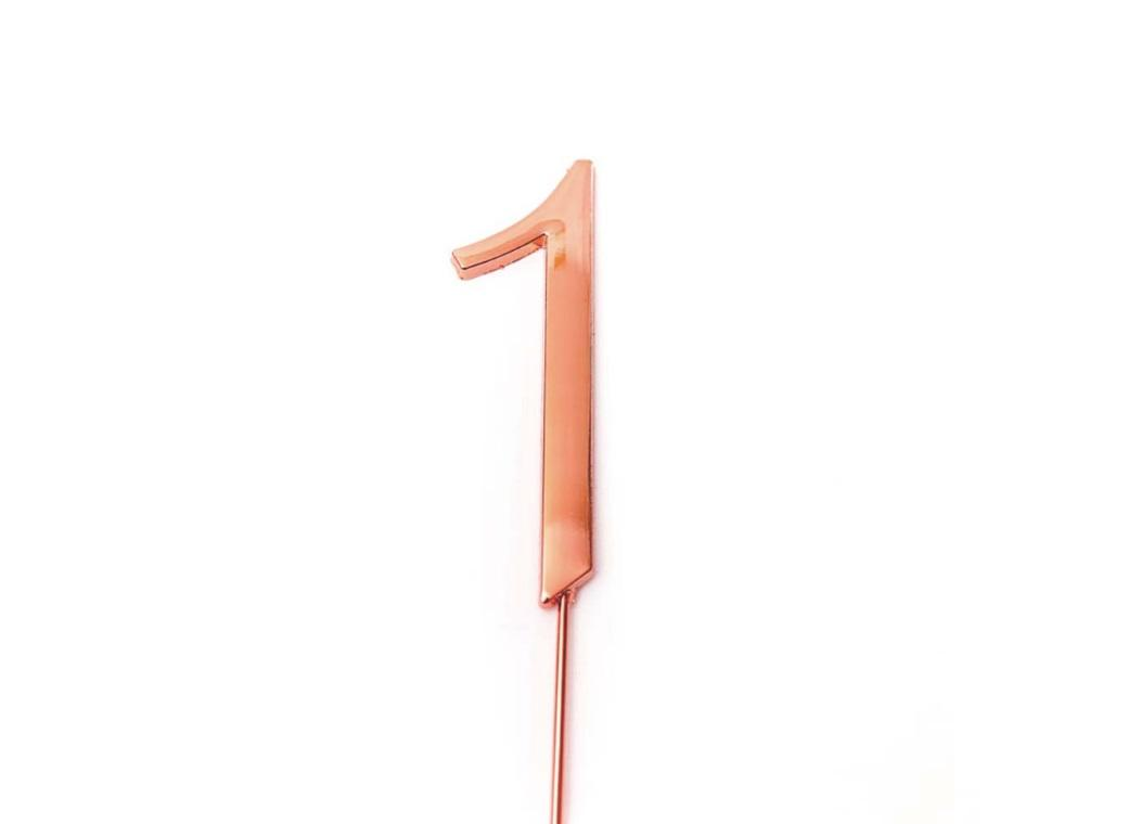 Rose Gold Cake Topper - Number 1