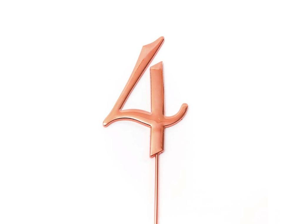 Rose Gold Cake Topper - Number 4