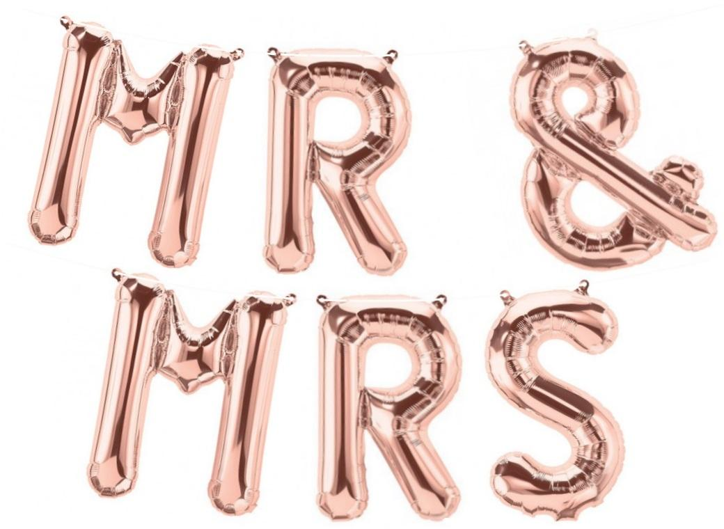 Foil Balloon Kit - Rose Gold Mr & Mrs