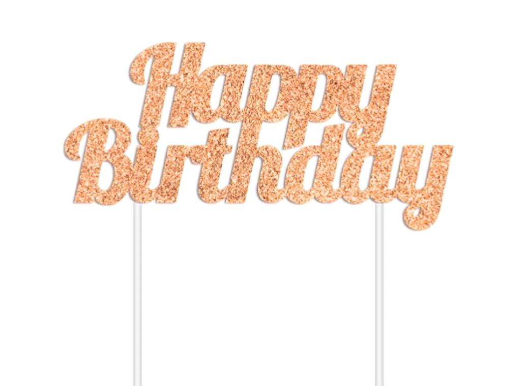 Rose Gold Glitter Cake Topper - Happy Birthday