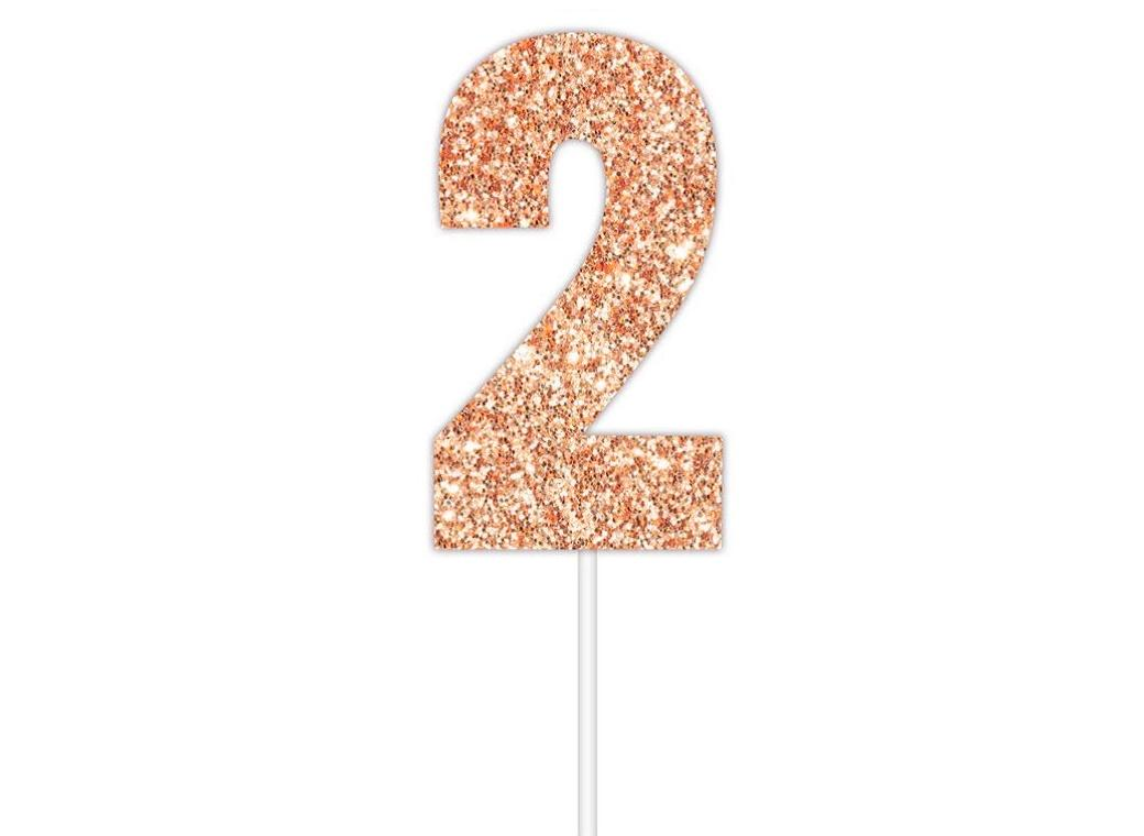 Rose Gold Glitter Cake Topper - No 2