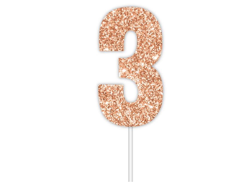 Rose Gold Glitter Cake Topper - No 3