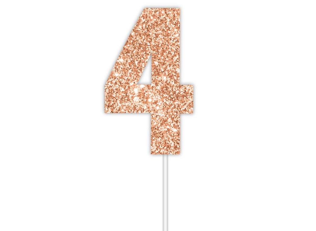 Rose Gold Glitter Cake Topper - No 4