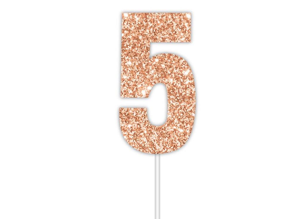 Rose Gold Glitter Cake Topper - No 5
