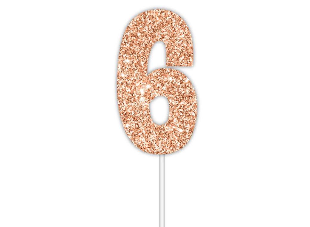 Rose Gold Glitter Cake Topper - No 6