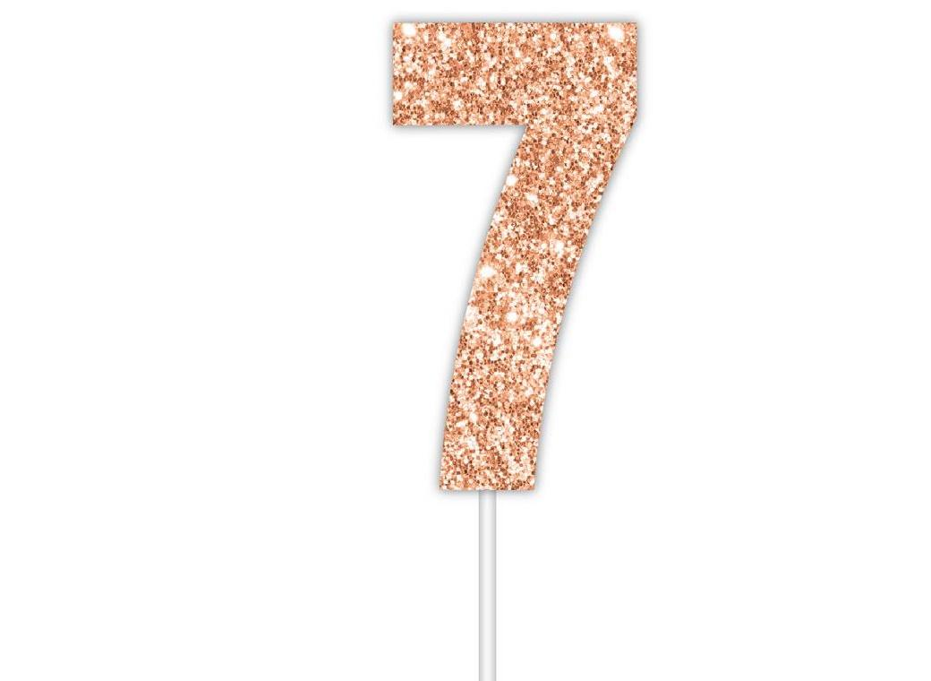 Rose Gold Glitter Cake Topper - No 7