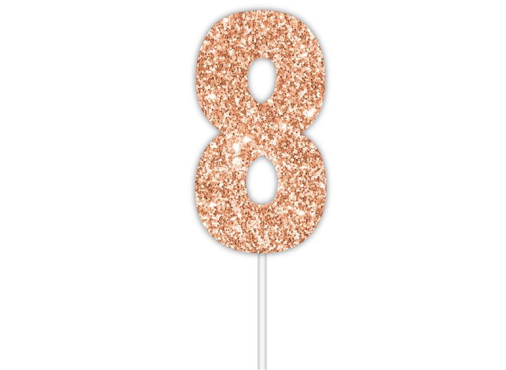 Rose Gold Glitter Cake Topper - No 8