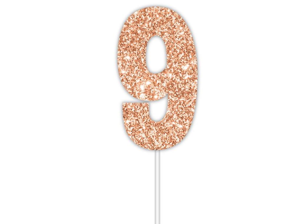 Rose Gold Glitter Cake Topper - No 9