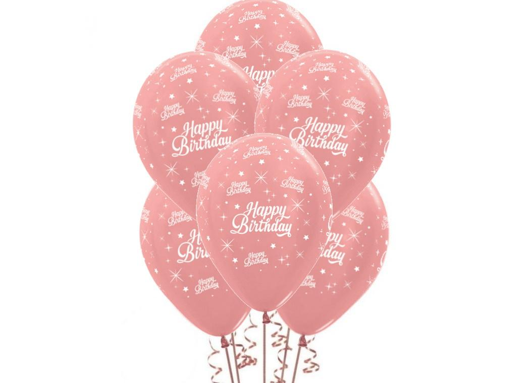 Happy Birthday Balloons - Rose Gold 6pk