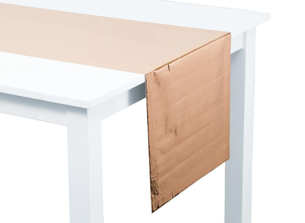 Metallic Rose Gold Fabric Table Runner
