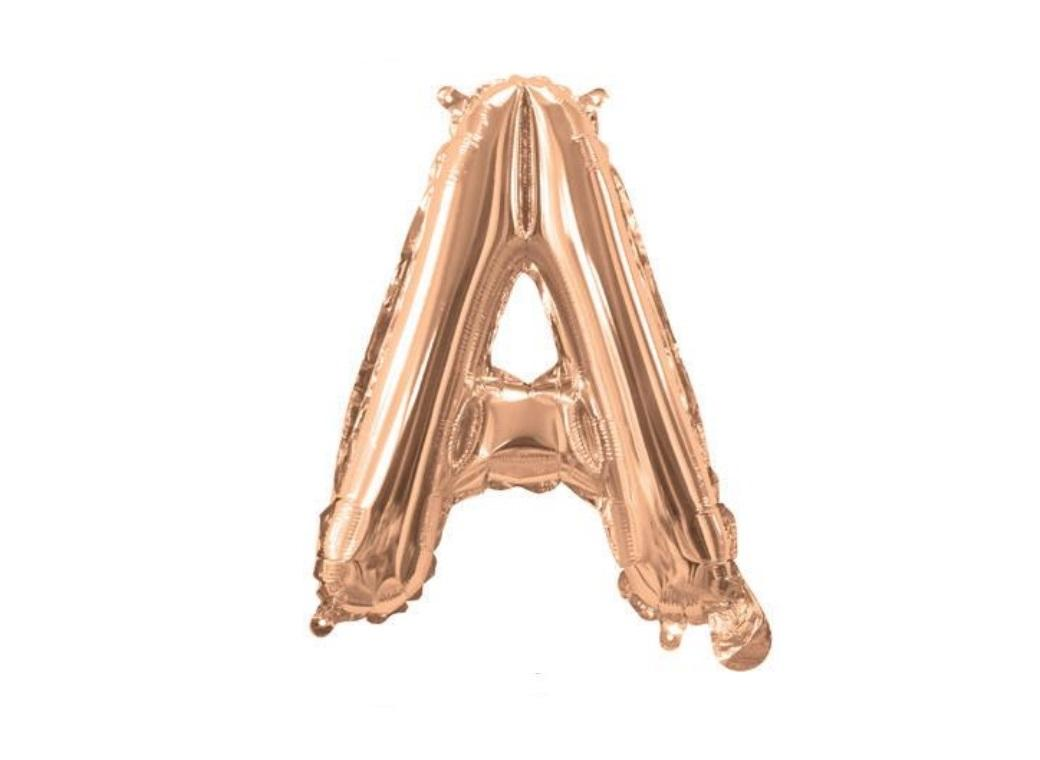 Mini Rose Gold Foil Balloon - Letter A