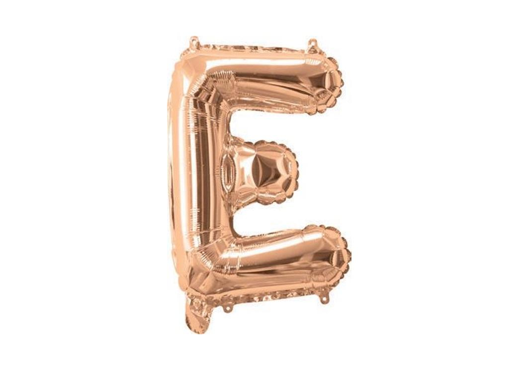Mini Rose Gold Foil Balloon - Letter E