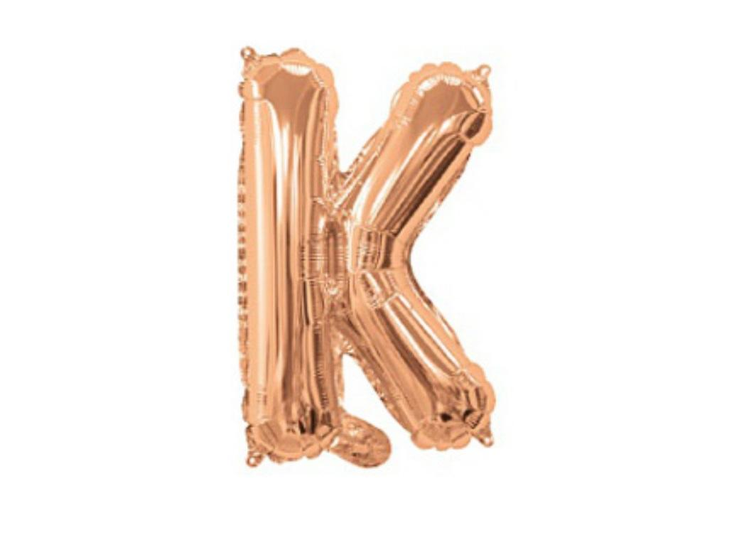 Mini Rose Gold Foil Balloon - Letter K