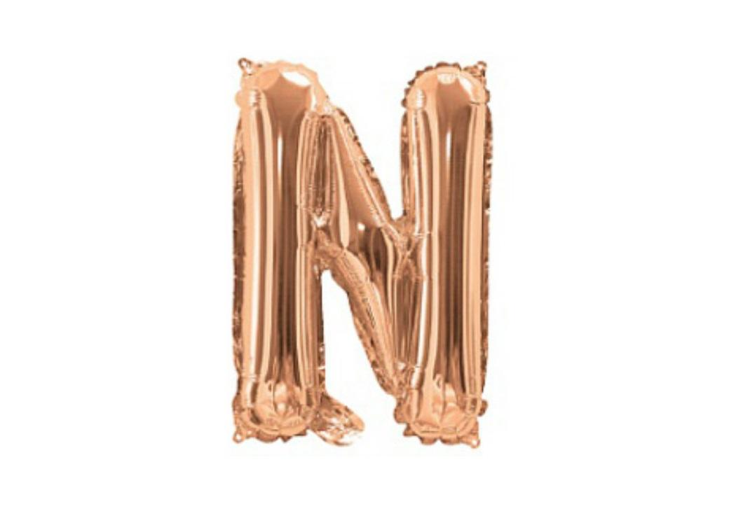 Mini Rose Gold Foil Balloon - Letter N