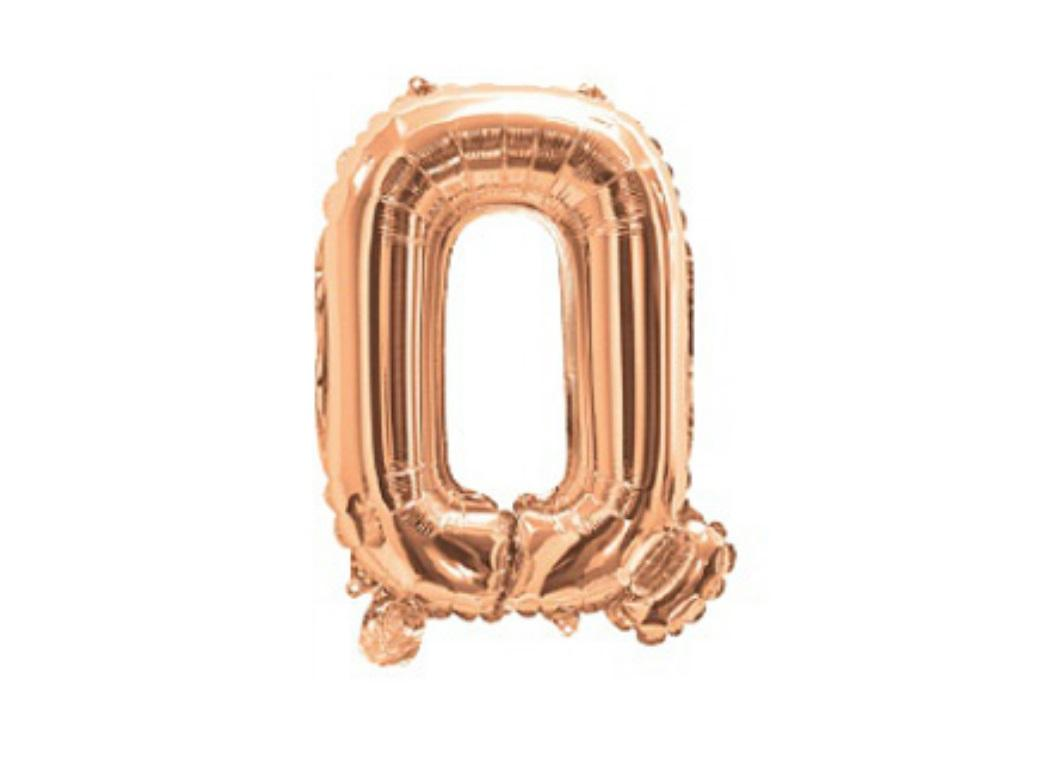 Mini Rose Gold Foil Balloon - Letter Q