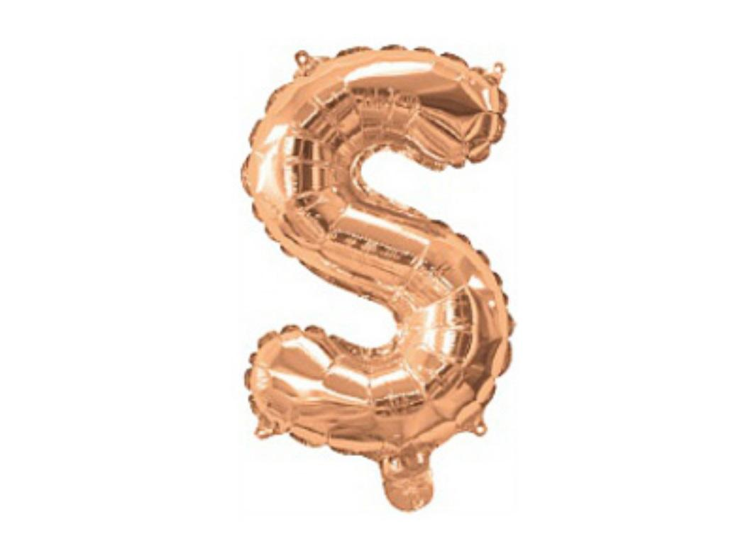 Mini Rose Gold Foil Balloon - Letter S