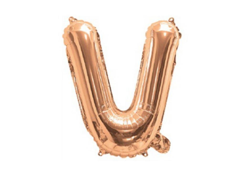 Mini Rose Gold Foil Balloon - Letter V