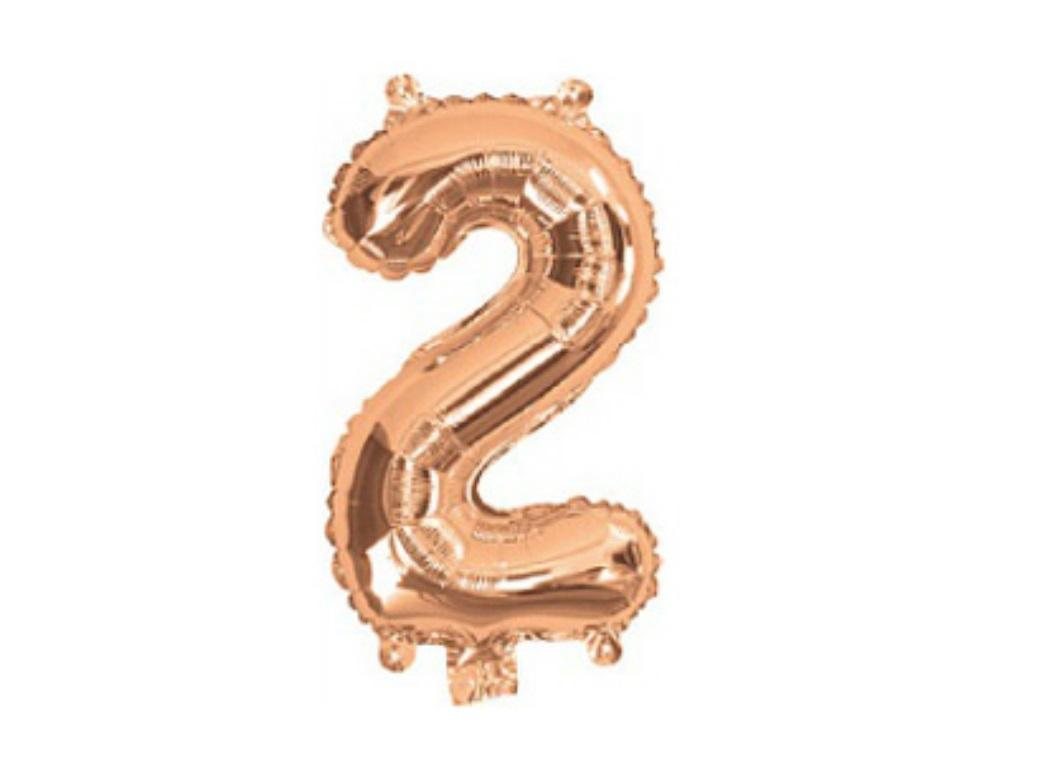 Mini Rose Gold Foil Balloon - Number 2