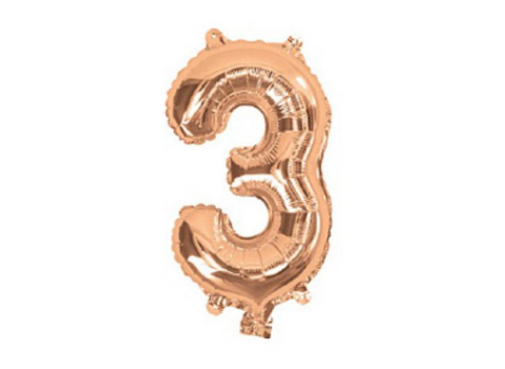 Mini Rose Gold Foil Balloon - Number 3