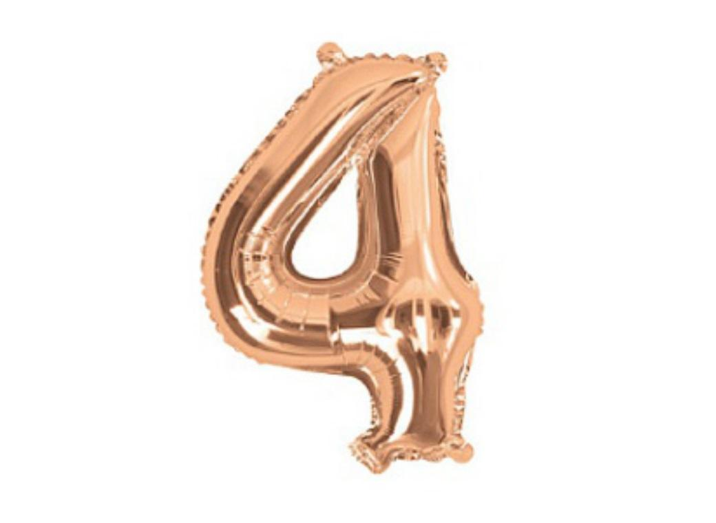 Mini Rose Gold Foil Balloon - Number 4