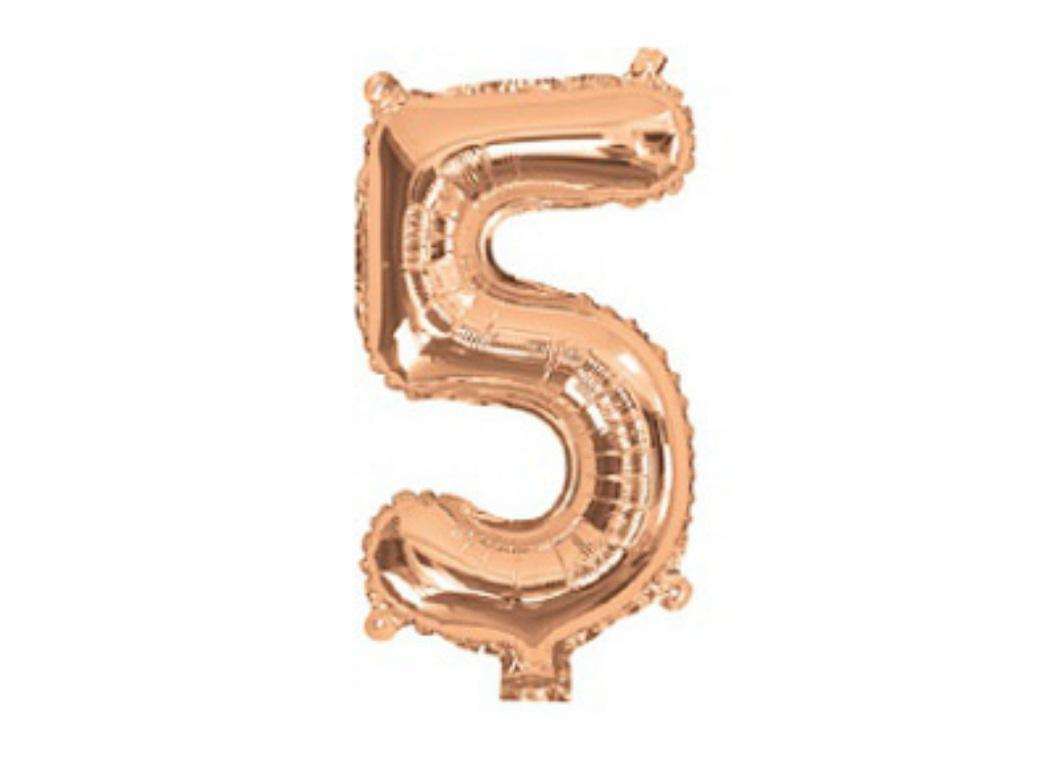 Mini Rose Gold Foil Balloon - Number 5