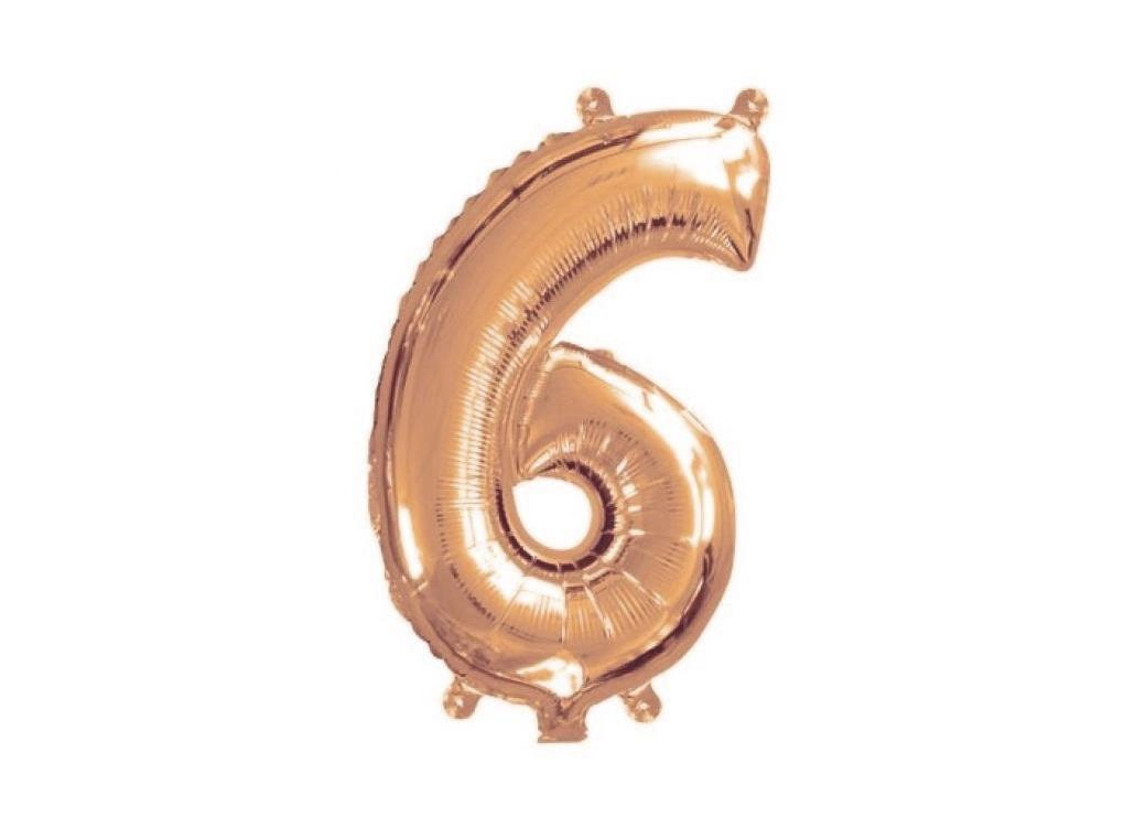 Mini Rose Gold Foil Balloon - Number 6