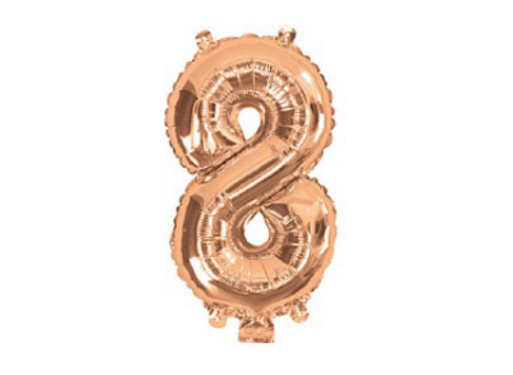 Mini Rose Gold Foil Balloon - Number 8