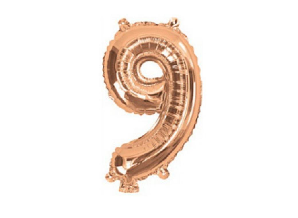 Mini Rose Gold Foil Balloon - Number 9